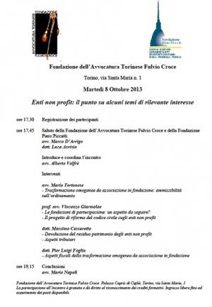 seminario interdisciplinare sugli enti non profit - Ordine Avvocati Torino e Ordine Commercialisti Torino 8.10.2013